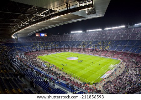 BARCELONA - JANUARY 26: View of Camp Nou stadium before the Spanish league match between FC Barcelona and Malaga CF, final score 3-0, on January 26, 2014, in Barcelona, Spain.