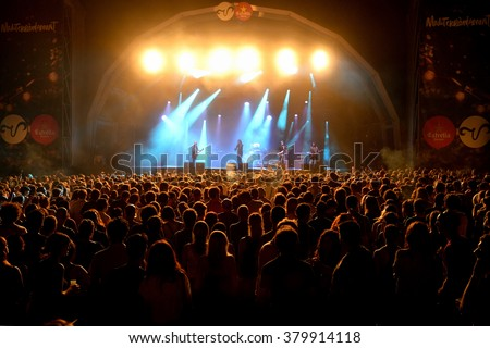 BARCELONA - JUL 4: Primal Scream (band) in concert at Vida Festival on July 4, 2015 in Barcelona, Spain. - stock photo