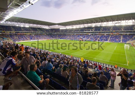 BARCELONA - JULY 27: Cornella stadium during the Ciutat de Barcelona Trophy match between RCD Espanyol and Boca Juniors on July 27, 2011 in Cornella, Barcelona, Spain. Final score, 3-1. - stock photo