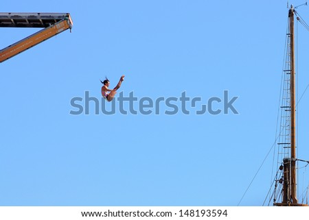 , jumps from the High Diving Tower at the final of women's high