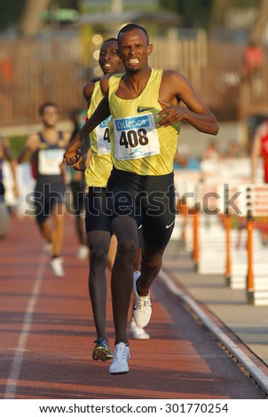 BARCELONA - JULY, 8: Djiboutian athlete Ayanleh Souleiman during 1500 meters of the Athletics International Meeting of Catalan Federation at the Serrahima Stadium on July 8 2015 in Barcelona, Spain - stock photo