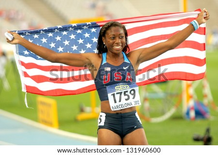 BARCELONA - JULY, 13: Erika Rucker of USA celebrating his medal during the 20th World Junior Athletics Championships at the Olympic Stadium on July 13, 2012 in Barcelona, Spain - stock photo