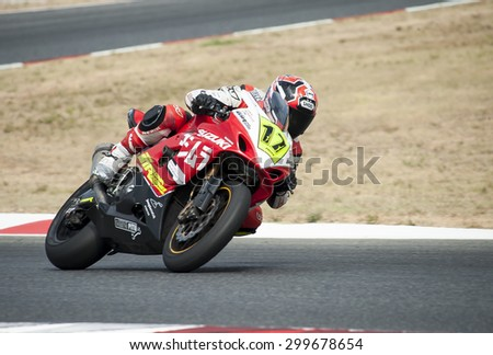 BARCELONA - JULY 19: Rider at Catalan Championship of motorcycling at Catalunya Circuit on July 19, 2015, Barcelona, Spain.