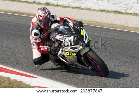 BARCELONA - JULY 6: Rider at 24 HOURS ENDURANCE at Catalunya Circuit on July 6, 2014 in Barcelona, Spain.