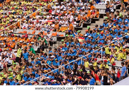 BARCELONA - JULY 28: Supporters during European Athletics Championships Barcelona 2010. July 28, 2010 in Barcelona (Spain). - stock photo