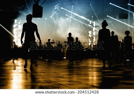 BARCELONA - JUN 14: Audience at Sonar Festival on June 14, 2014 in Barcelona, Spain. - stock photo
