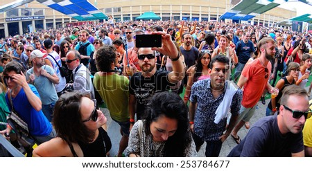 BARCELONA - JUN 12: Audience at Sonar Festival on June 12, 2014 in Barcelona, Spain.