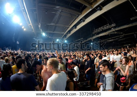 BARCELONA - JUN 19: Audience in a concert at Sonar Festival on June 19, 2015 in Barcelona, Spain. - stock photo