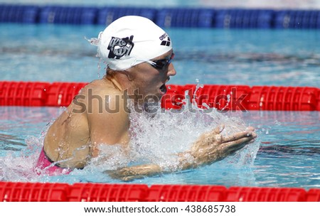 BARCELONA - JUN, 11: Hungarian swimmer Katinka Hosszu swimming breakstroke during the Trophy Ciutat de Barcelona in Sant Andreu Club, June 11, 2016 in Barcelona, Spain - stock photo