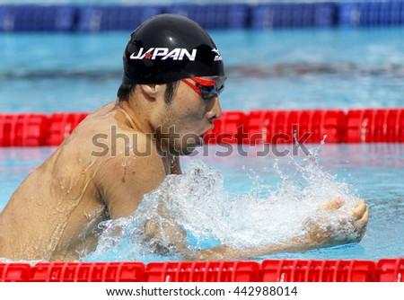 BARCELONA - JUN, 11: Japanese swimmer Kosuke Hagino swimming Breaststroke during the Trophy Ciutat de Barcelona in Sant Andreu Club, June 11, 2016 in Barcelona, Spain - stock photo