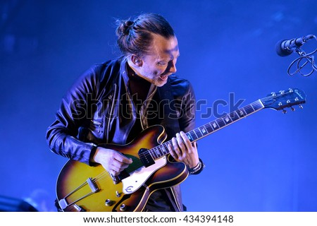 BARCELONA - JUN 3: Radiohead (band) perform in concert at Primavera Sound 2016 Festival on June 3, 2016 in Barcelona, Spain. - stock photo