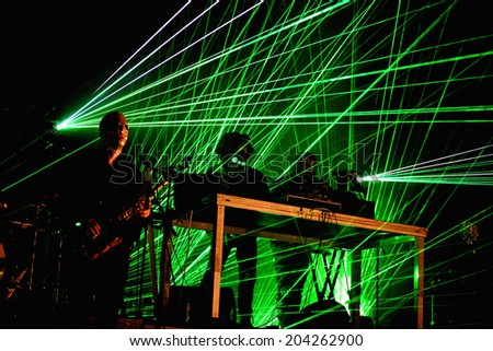 BARCELONA - JUN 13: Royksopp & Robyn (electronic band from Sweden and Norway) performs at Sonar Festival on June 13, 2014 in Barcelona, Spain. - stock photo