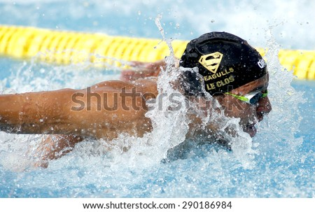 BARCELONA - JUN, 10: South African swimmer Chad le Clos swimming butterfly during the Trophy Ciutat de Barcelona in Sant Andreu Club, June 10, 2015 in Barcelona, Spain - stock photo