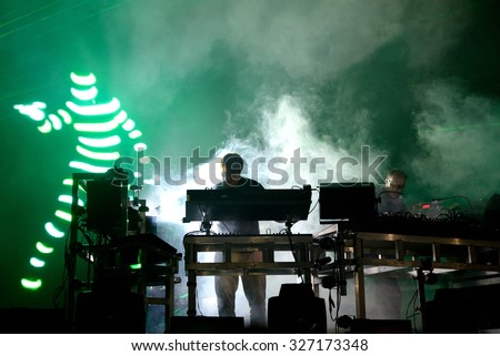 BARCELONA - JUN 20: The Chemical Brothers (electronic dance music band) live music performance at Sonar Festival on June 20, 2015 in Barcelona, Spain. - stock photo