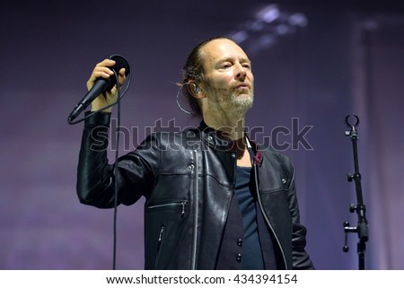 BARCELONA - JUN 3: Thom Yorke, lead singer of Radiohead (band), performs in concert at Primavera Sound 2016 Festival on June 3, 2016 in Barcelona, Spain. - stock photo