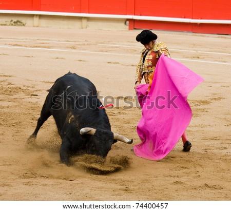 """BARCELONA - JUNE 6: Bullfighting, typical Spanish tradition where a bullfighter kills a bull. In the picture, """"Morante de la Puebla"""". June 6, 2010 in Barcelona (Spain). - stock photo"""