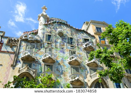 BARCELONA - JUNE 10: Casa Batllo is an Modernism masterpiece by architect Antoni Gaudi at Eixample District on June 10th, 2013 in Barcelona, Catalonia, Spain. Casa Batllo is UNESCO World Heritage Site - stock photo