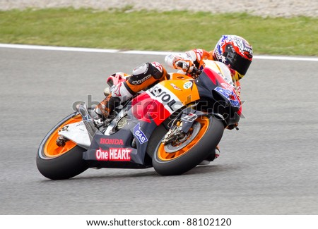 BARCELONA - JUNE 3: Casey Stoner of Honda team racing at Free Practice Session of MotoGP Grand Prix of Catalunya, on June 3, 2011 in Barcelona, Spain.