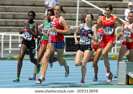 BARCELONA - JUNE, 13: Competitors on 1500m women envent during the 20th World Junior Athletics Championships at the Olympic Stadium on July 13, 2012 in Barcelona, Spain - stock photo