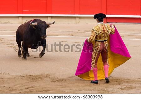 """BARCELONA - JUNE 6: """"Corrida"""" (bullfighting) of bulls, typical Spanish tradition where a torero (bullfighter) kills a bull. In the picture, """"Morante de la Puebla"""". June 6, 2010 in Barcelona (Spain). - stock photo"""