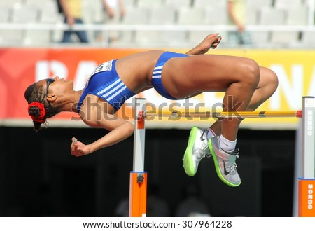 BARCELONA - JUNE, 13: Dior Delophont of France jumping on Hight jump event of of the 20th World Junior Athletics Championships at the Olympic Stadium on July 13, 2012 in Barcelona, Spain - stock photo