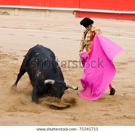 BARCELONA - JUNE 6: Morante de la Puebla in action during a bullfighting, typical Spanish tradition where a bullfighter kills a bull. June 6, 2010 in Barcelona, Spain. - stock photo