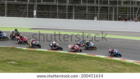BARCELONA - JUNE 22: Moto 3 start of the race at FIM CEV REPSOL at Catalunya Circuit on June 21, 2014  in  Barcelona, Spain.