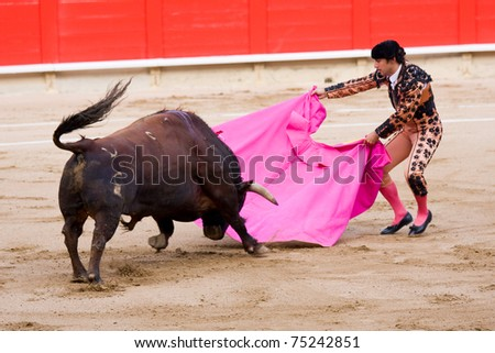 BARCELONA - JUNE 6: Rafael Cuesta in action during a bullfighting, typical Spanish tradition where a bullfighter kills a bull. June 6, 2010 in Barcelona (Spain). - stock photo