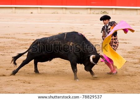 BARCELONA - JUNE 6: Rafael Cuesta in action during a corrida or bullfighting, typical Spanish tradition where a torero or bullfighter kills a bull. June 6, 2010 in Barcelona, Spain. - stock photo