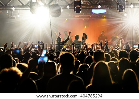 BARCELONA - MAR 17: Crowd in a concert at Razzmatazz stage on March 17, 2016 in Barcelona, Spain. - stock photo