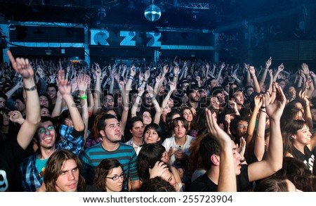 BARCELONA - MAR 18: Fans of Dorian, spanish famous band, at Razzmatazz on March 13, 2011 in Barcelona, Spain. - stock photo
