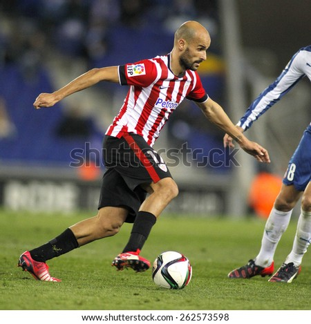 BARCELONA - MAR, 4: Mikel Rico of Athletic Bilbao during a Spanish League match against RCD Espanyol at the Estadi Cornella on March 4, 2015 in Barcelona, Spain - stock photo