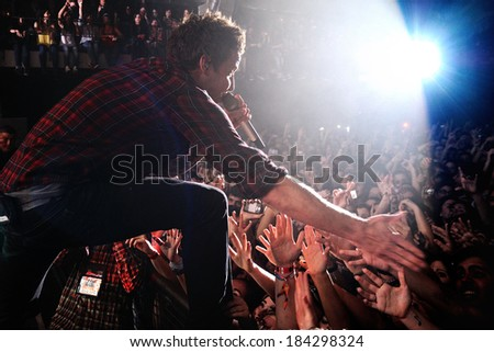 BARCELONA - MAR 13: Simple Plan band performs at Razzmatazz on March 13, 2012 in Barcelona, Spain. - stock photo