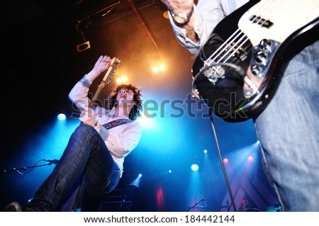 BARCELONA - MAR 01: The Brew (British rock group) performs at Bikini club on March 01, 2012 in Barcelona, Spain.