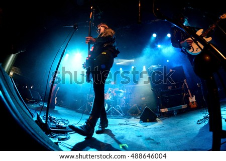 BARCELONA - MAR 7: The Dash (post-punk band) in concert at Bikini stage on March 7, 2015 in Barcelona, Spain.