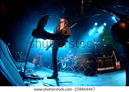 BARCELONA - MAR 7: The Dash (post-punk band) performs at Bikini stage on March 7, 2015 in Barcelona, Spain.