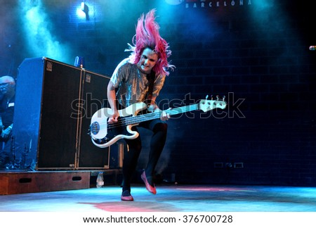 BARCELONA - MAR 18: The Subways (rock band) in concert at Bikini stage on March 18, 2015 in Barcelona, Spain. - stock photo
