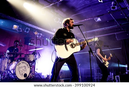 BARCELONA - MAR 17: The Vaccines (band) in concert at Razzmatazz stage on March 17, 2016 in Barcelona, Spain. - stock photo