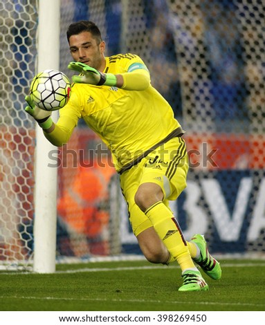 BARCELONA - MARCH, 3: Antonio Adan of Real Betis during a Spanish League match against RCD Espanyol at the Power8 stadium on March 3, 2016 in Barcelona, Spain - stock photo
