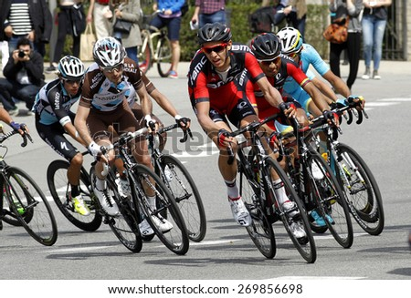 BARCELONA - MARCH, 29: Ben Gastauer (L) of Ag2r and Ben Hermans (R) of BMC Racing rides during the Tour of Catalonia cycling race through the streets of Monjuich mountain in Barcelona on March 29, 2015 - stock photo