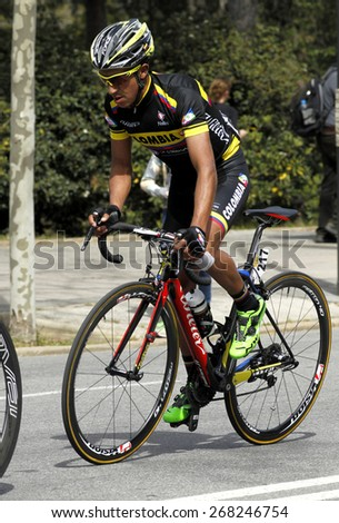 BARCELONA - MARCH, 29: Cayetano Sarmiento of Colombia Team rides during the Tour of Catalonia cycling race through the streets of Monjuich mountain in Barcelona on March 29, 2015 - stock photo