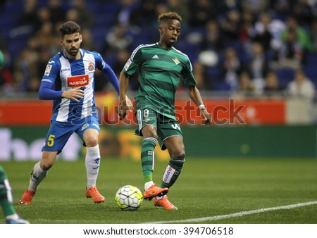 BARCELONA - MARCH, 3: Charly Musonda Junior of Real Betis during a Spanish League match against RCD Espanyol at the Power8 stadium on March 3, 2016 in Barcelona, Spain - stock photo