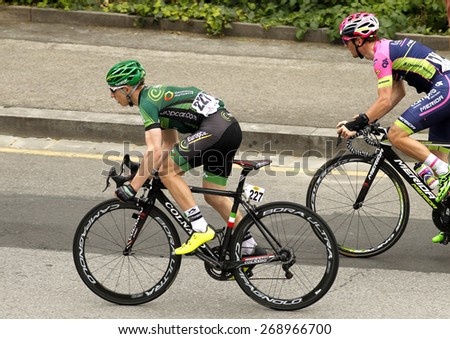 BARCELONA - MARCH, 29: Cyril Gautier of Team Europcar rides during the Tour of Catalonia cycling race through the streets of Monjuich mountain in Barcelona on March 29, 2015 - stock photo