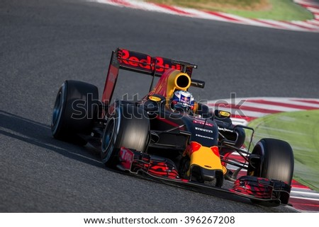 BARCELONA - MARCH 2: Daniel Ricciardo of Red Bull Racing F1 Team at Formula One Test Days at Catalunya circuit on March 2, 2016 in Barcelona, Spain. - stock photo