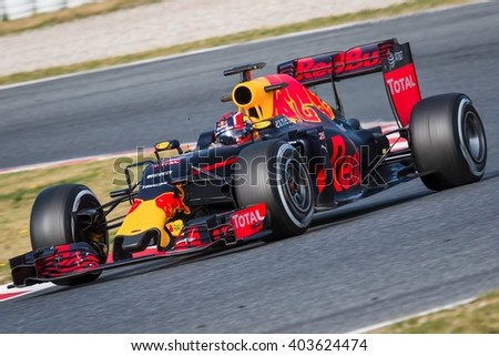 BARCELONA - MARCH 3: Daniil Kvyat of Red Bull Racing F1 Team at Formula One Test Days at Catalunya circuit on March 3, 2016 in Barcelona, Spain. - stock photo
