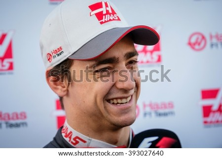 BARCELONA - MARCH 1: Esteban Gutierrez of Haas F1 Team at Formula One Test Days at Catalunya circuit on March 1, 2016 in Barcelona, Spain. - stock photo