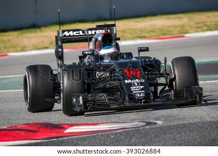 BARCELONA - MARCH 1: Fernando Alonso of McLaren-Honda F1 Team at Formula One Test Days at Catalunya circuit on March 1, 2016 in Barcelona, Spain. - stock photo