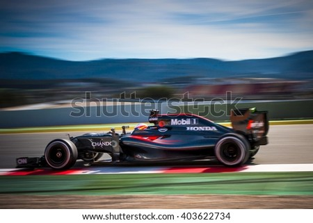 BARCELONA - MARCH 3: Fernando Alonso of McLaren-Honda F1 Team at Formula One Test Days at Catalunya circuit on March 3, 2016 in Barcelona, Spain. - stock photo