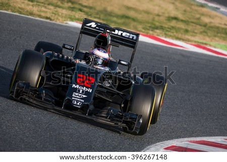 BARCELONA - MARCH 2: Jenson Button of McLaren-Honda F1 Team at Formula One Test Days at Catalunya circuit on March 2, 2016 in Barcelona, Spain. - stock photo