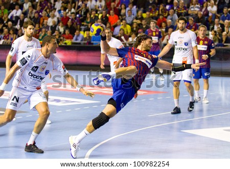 BARCELONA - MARCH 25: Jesper Noddesbo in action during EHF Champions League match between FC Barcelona and Montpellier, final score 36-20, on March 25, 2012, in Palau Blaugrana, Barcelona, Spain.